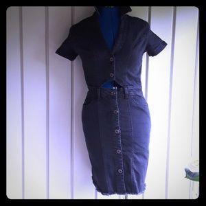 Zara Black Denim cut Out Dress  size  xs NWT
